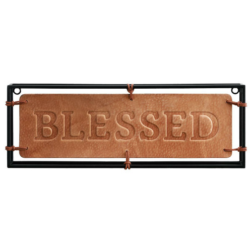 Blessed Iron & Leather Wall Hanging