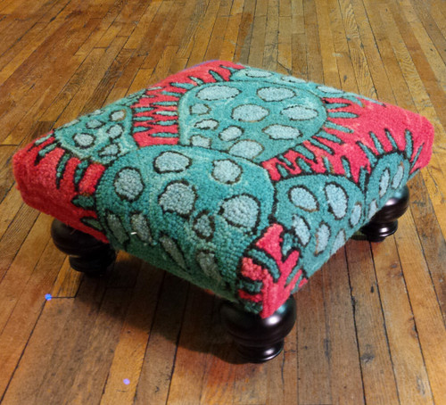 Bloomer Cactus Hooked Wool Footstool