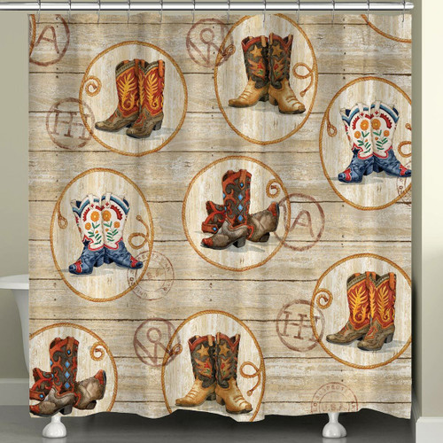 Boots and Brands Shower Curtain