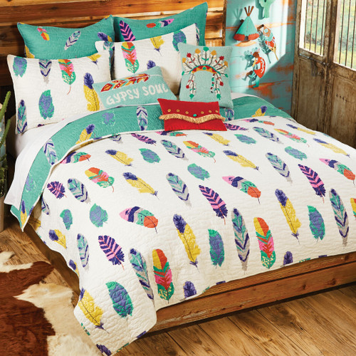 Falling Feathers Quilt Set - Twin