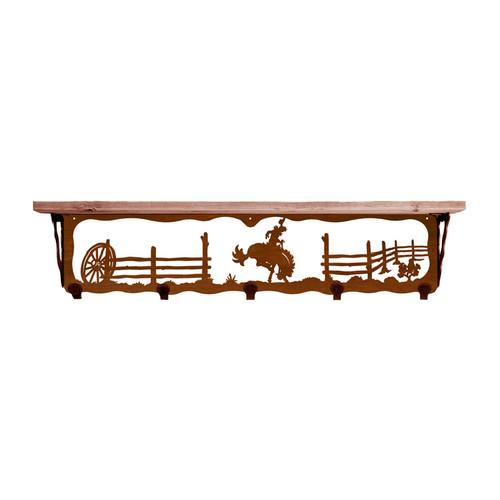 Bronc 34 Inch Pine Hook Shelf