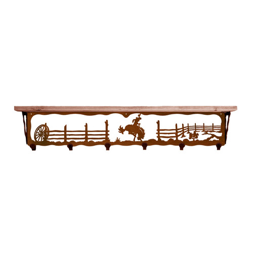Bronc 42 Inch Pine Hook Shelf