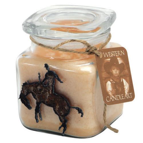 Bronco Rider Candle Art Jar