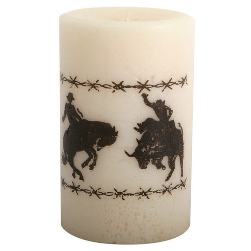 Bronco Riders Pillar Candle - 4 Inch