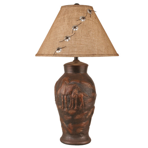 Bronzed Copper Horse Table Lamp with Concho Shade