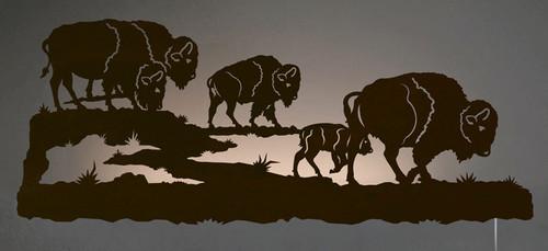 Buffalo Herd Back Lit Wall Art