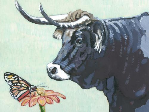 Bull & Butterfly Canvas Wall Art