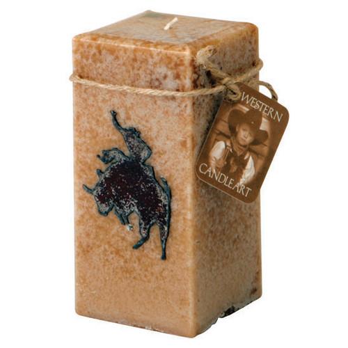 Bull Rider Embedded Pillar Candle