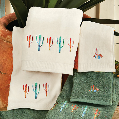 Cactus Towel Set - Cream (Set of 3) - OVERSTOCK