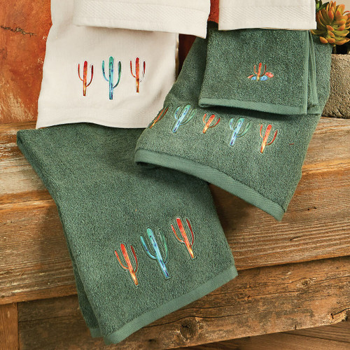 Cactus Towel Set - Turquoise (Set of 3)