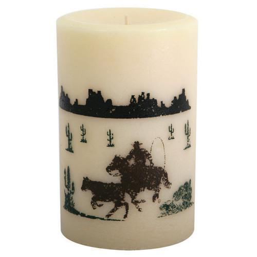 Calf Roper Pillar Candle - 6 Inch