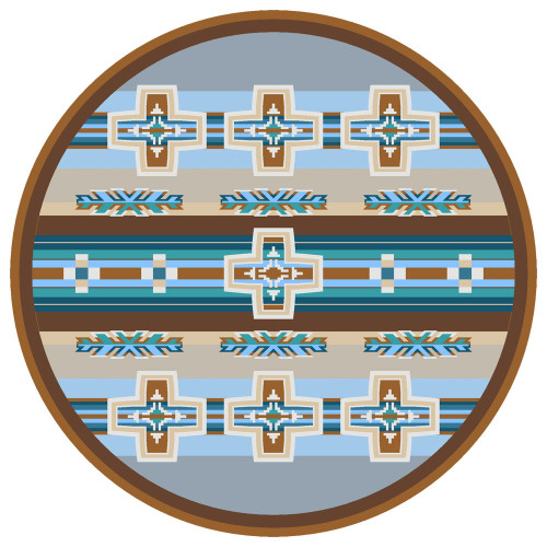 Canyon Cross Blue Rug - 8 Ft. Round