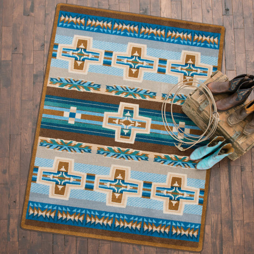 Canyon Cross Blue Rug - 8 x 11