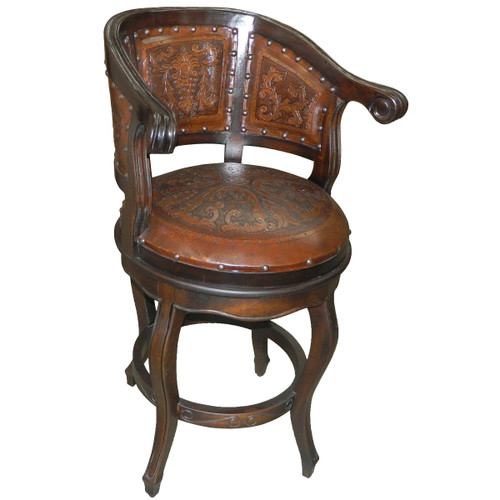 Cardenal Swivel Barstool with Back - Antique Brown