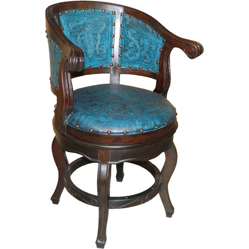 Cardenal Swivel Barstool with Back - Colonial Teal