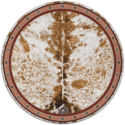 Cattle Drive Spotted Brindle Rug - 8 Ft. Round