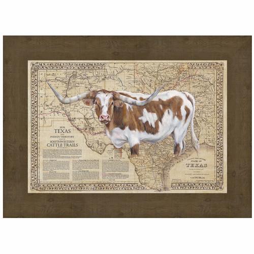 Cattle Trails Map Framed Art