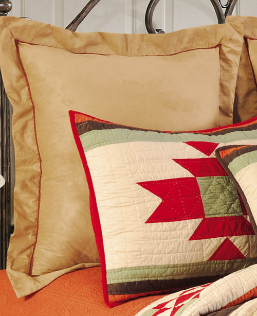 Tan Faux Suede with Red Euro Sham