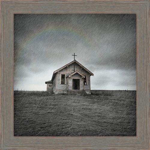 Chapel in the Rain Framed Canvas