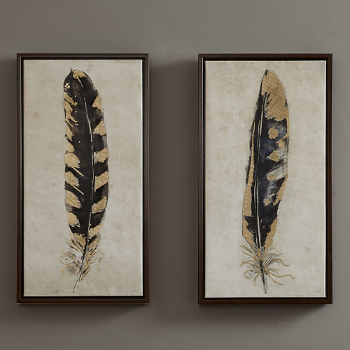 Chic Gold Feathers Canvas Art - Set of 2