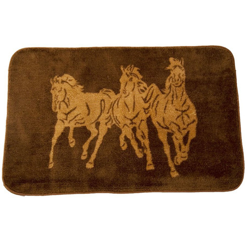 Chocolate Running Horse Bath Rug - 2 x 3