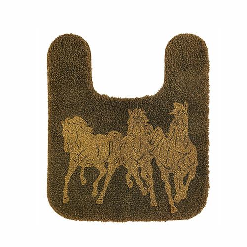 Chocolate Running Horse Contour Rug