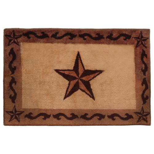 Chocolate Scrolls & Stars Bath Rug