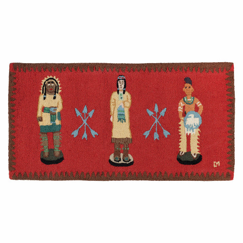 Cigar Store Indians Hooked Wool Rug