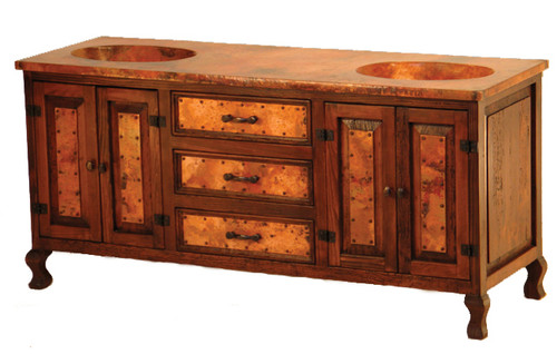 Four-Door Sink Cabinet with Copper - 3 Drawer