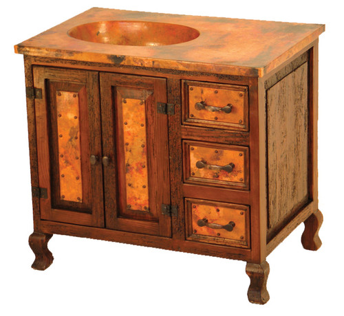 Two-Door Sink Cabinet with Copper - 3 Drawer