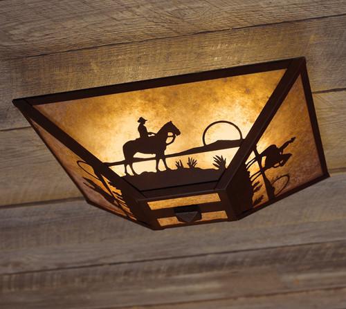 Cowboy at Sunset Ceiling Mount Light
