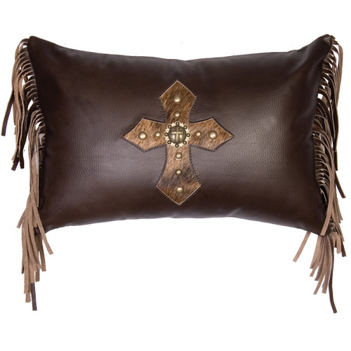 Coffee Leather Fringed Pillow with Hair on Hide Concho Cross and Fabric Back