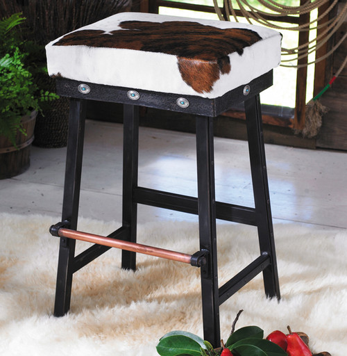 Cowhide Iron Barstool w/ Turquoise Conchos - 24 Inch