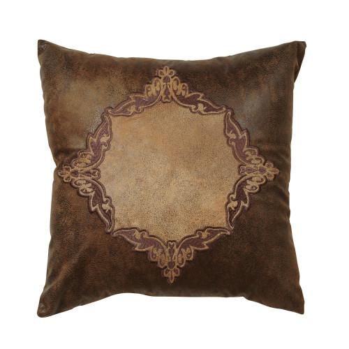 Coronado Embroidered Faux Leather Pillow