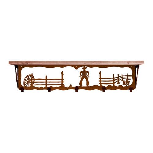 Cowboy 34 Inch Pine Hook Shelf