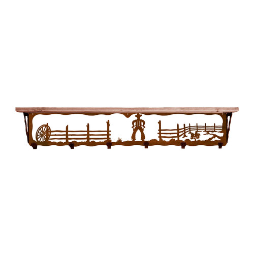 Cowboy 42 Inch Pine Hook Shelf