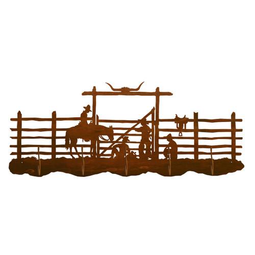 Cowboy Corral Scenic 5 Hook Coat Rack