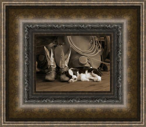 Cowboy Puppy Framed Wall Art