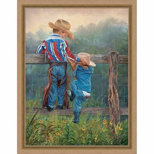 Cowboy Tots Framed Canvas