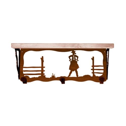 Cowgirl 20 Inch Pine Hook Shelf