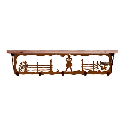 Cowgirl 34 Inch Pine Hook Shelf