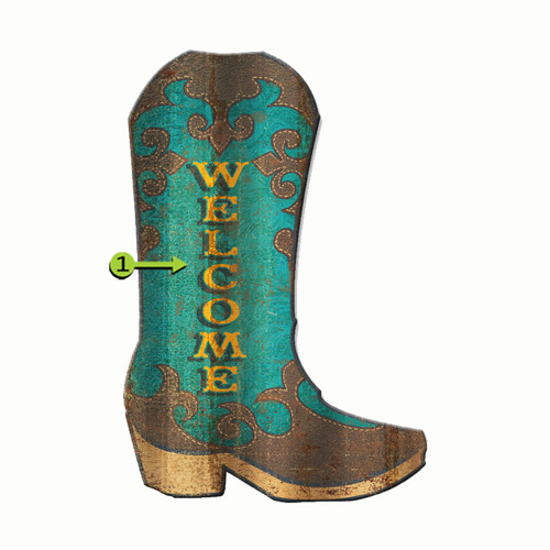 Cowgirl Boot Personalized Corrugated Cutout