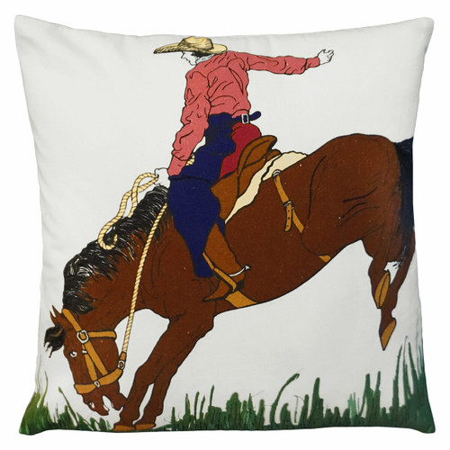 Cowgirl Embroidered Pillow