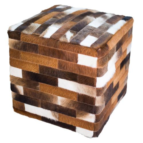 Cowhide Cube Ottoman - Dark Brown
