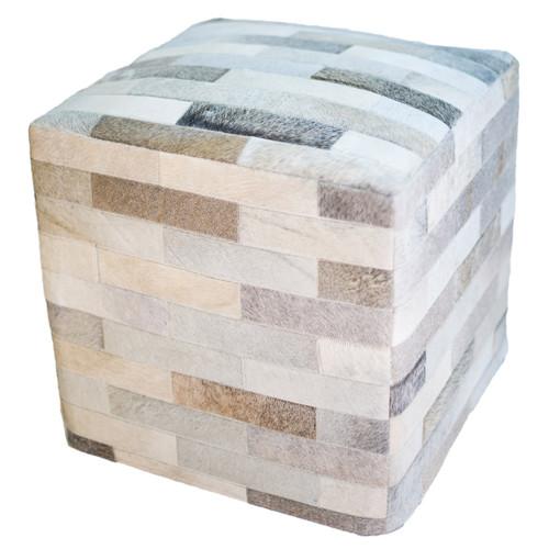 Cowhide Cube Ottoman - Gray