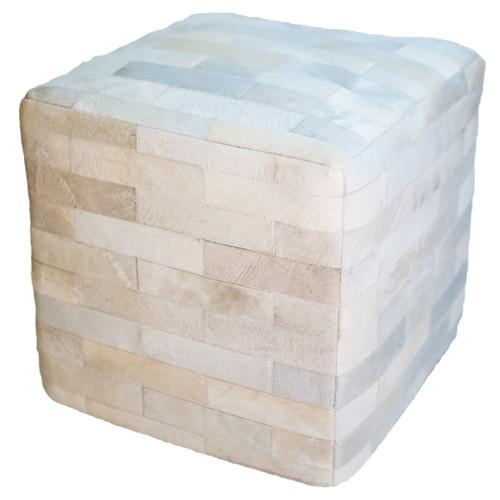 Cowhide Cube Ottoman - White