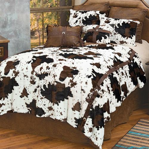 Cowhide Plush Bed Set - Queen