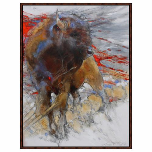Crimson Bison Framed Canvas