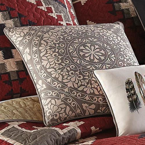 Crimson Vista Mandala Pillow