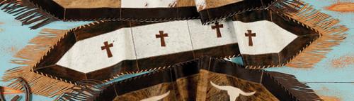 Cross Cowhide Table Runner